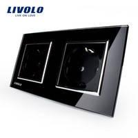 Розетки двойные Livolo, черный цвет