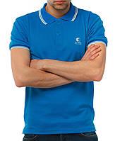 Голубая мужская футболка POLO Ястребь поло есть опт, фото 1
