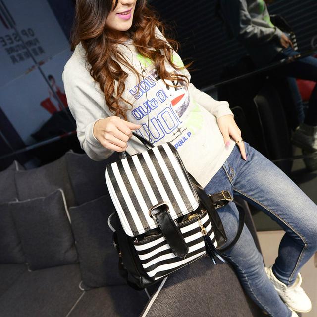 Женский рюкзак с модными полосками