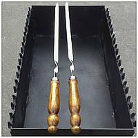 Шампур плоский с деревянной ручкой (3мм, 80см)