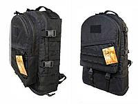 Тактический туристический супер-крепкий рюкзак трансформер 30-45 литров чёрный. Армия, рыбалка, спорт, туризм.