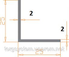 Алюмінієвий куточок 25х25х2, а анодований (AS)