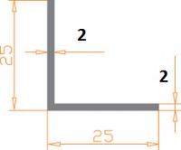 Алюминиевый уголок 25х25х2 без покрытия