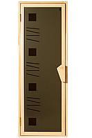 """Двери для бани и сауны (модель """"Альфа-арт"""") 678х1880, 14мм стекло"""
