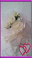 """Свадебные бутоньерки для жениха или свидетеля """"Три розы"""""""