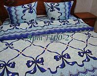Комплект постельного БЯЗЬ оптом и в розницу, Ленты синие 1100-2