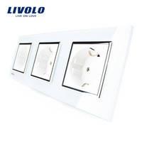 Розетка Livolo 3 поста, белый цвет