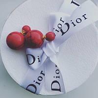Серьги пуссеты Dior красный мрамор, серьги двойной шарик