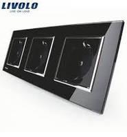 Розетка Livolo тройная, черный цвет