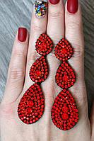 Серьги женские Затмение красные, вечерние сережки