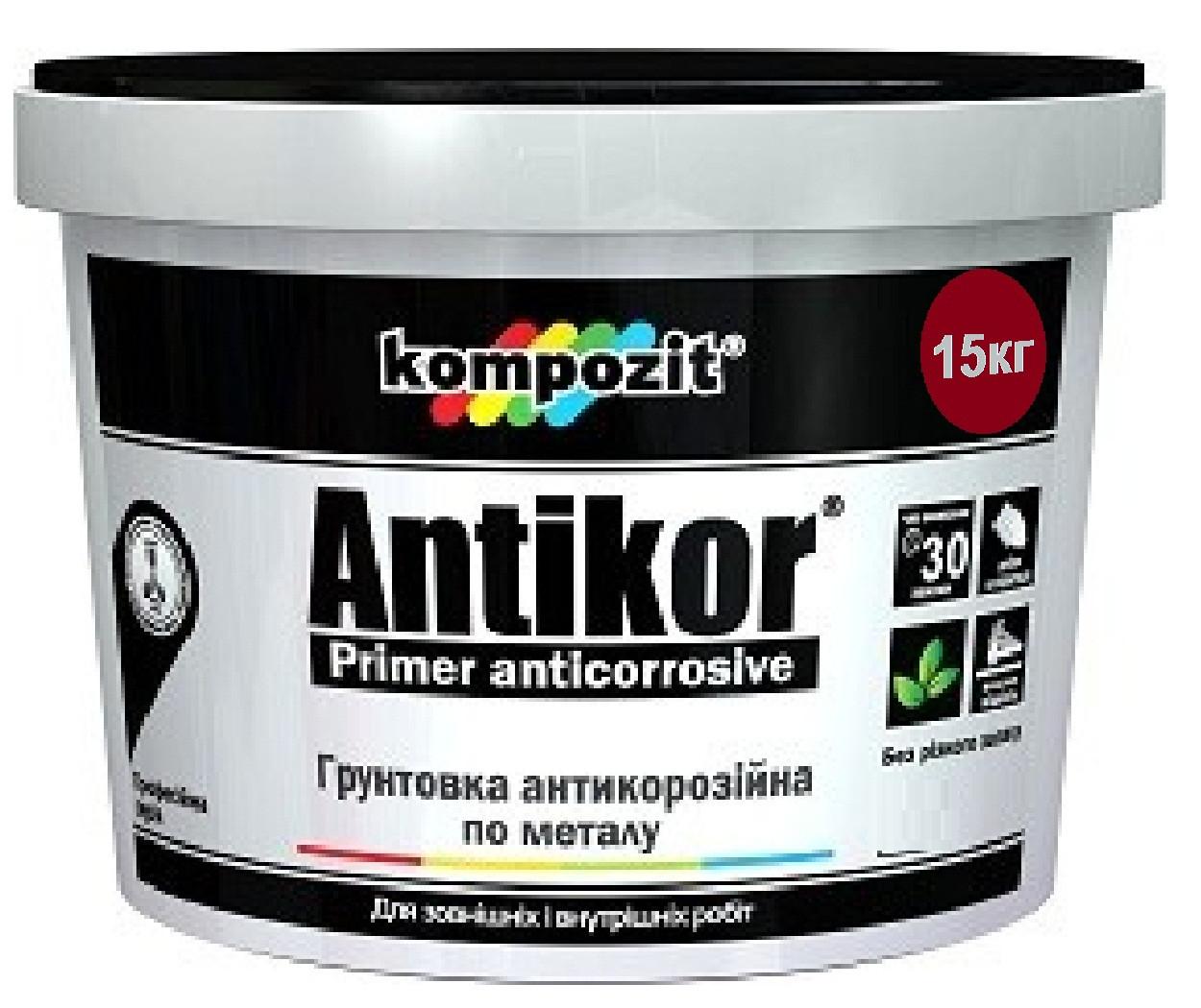 Грунт акриловый KOMPOZIT ANTIKOR антикоррозионный красно-коричневый 15кг