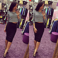 Костюм юбка и кофта Энди черный , женская одежда