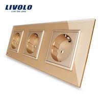 Розетка Livolo VL-C7C3EU-13, золотой цвет