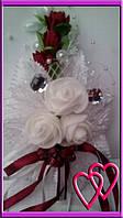 """Свадебные бутоньерки для жениха или свидетеля """"Три розы"""" Марсал"""