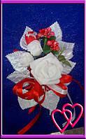 """Свадебные бутоньерки для жениха или свидетеля """"Три розы"""" Красный"""