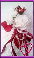"""Свадебные бутоньерки для жениха или свидетеля """"Три розы"""" Бордовый"""