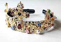Корона обруч D&G крест в цветах , диадема