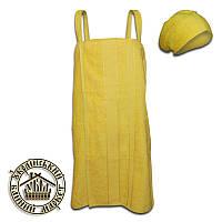 Набор для бани женский махровый желтый