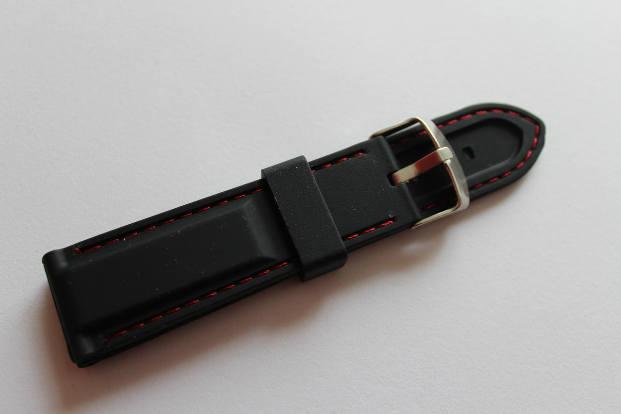 Каучуковый ремень для часов-черного цвета с красной прошивкой 24 мм