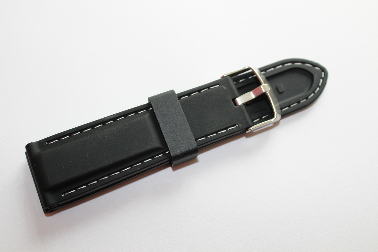 Каучуковый ремень для часов-черного цвета с белой прошивкой 24 мм