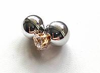 Серьги пуссеты Dior Crystal серебро, серьги двойной шарик