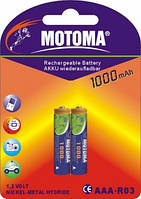 Аккумуляторы Motoma - Rechargeable Battery ААА HR03 Ni-MH 1000mAh 1.2V 2/20/200шт