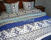 Комплект постельного БЯЗЬ оптом и в розницу, Турецкий мотив синий 0979-2