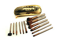 Набор кистей Naked gold 12 штук в кошельке, кисти для макияжа