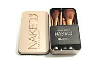 Набор кистей naked 3 12 штук gold в металлическом футляре, кисти для макияжа