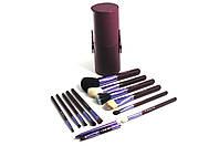 Кисти набор кистей MAC в тубусе 12 штук Violet, кисти для макияжа