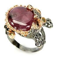 Серебряное кольцо с натуральным рубином (кабошон) и сапфирами