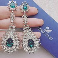 Серьги женские Angel зеленые, женские сережки