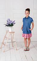 Детское джинсовое платье, с рюшей плиссе