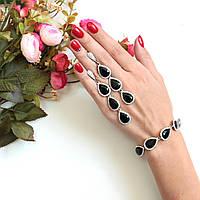 Комплект украшений браслет и серьги Essia черный, набор украшений