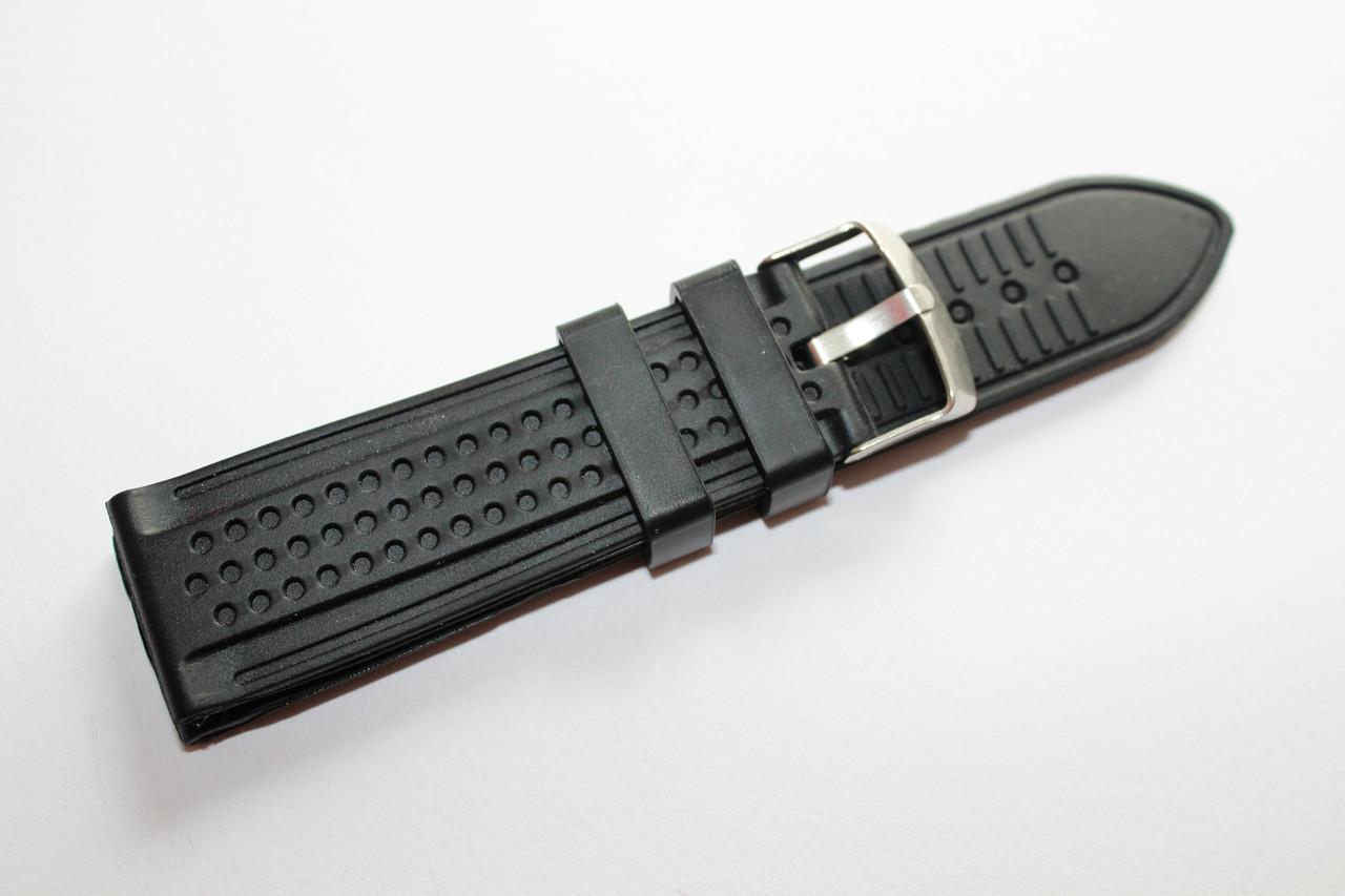Каучуковый ремень для часов-черного цвета без прошивки 24 мм