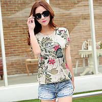 Женская летняя блуза с коротким рукавом цветочный принт
