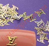 Металлические надписи LV для украшения ногтей