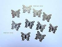 Металлические бабочки серебрянные для украшения ногтей