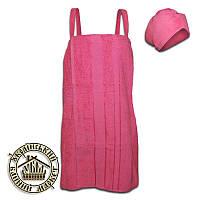 Набор для бани женский махровый розовый