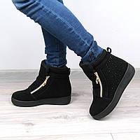 Ботинки женские Dimond черные стразы, зимняя обувь