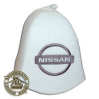 """NISSAN"" / ""Ниссан"", шапка для бани (Э), белая"