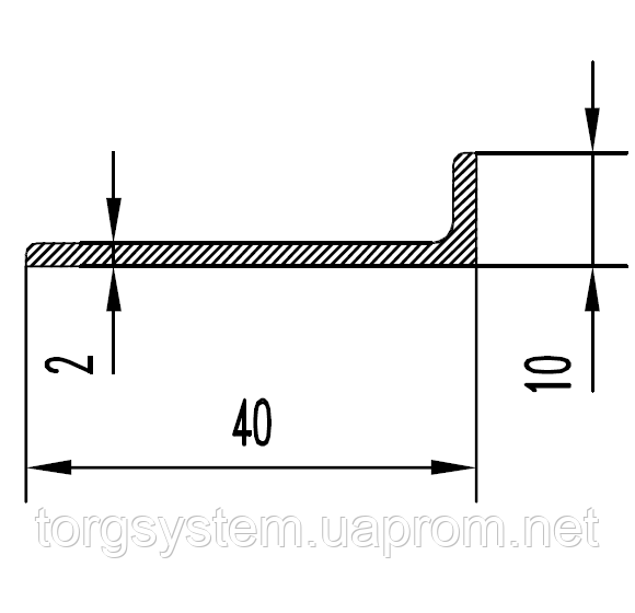 Алюминиевый уголок 40х10х2 анодированный (AS)