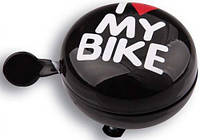 Звонок Green Cycle Динг-Донг GCB-1058S I love my bike, диаметр 80mm, черный