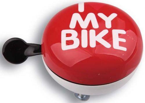 Звонок Green Cycle Динг-Донг GCB-1058S I love my bike, диаметр 80mm, красный