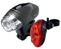 Комплект фар Longus: Свет передн 4LED/4ф-ции + Задн 5LED/4ф-ции, черн