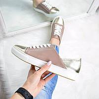 Слипоны женские Urban на шнурках какао + золото , спортивная обувь