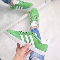 Кроссовки женские Adidas Gazelle зеленые, спортивная обувь
