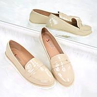 Туфли лоферы женские Tiana бежевый лак , балетки женские