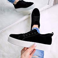 Кроссовки криперы женские Rihana черные с белым  , спортивная обувь