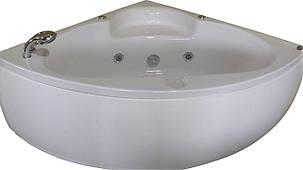 Ванна APPOLO угловая с гидромассажем и пневмокнопкой 1400*1400*620 мм, со смесителем, фото 2